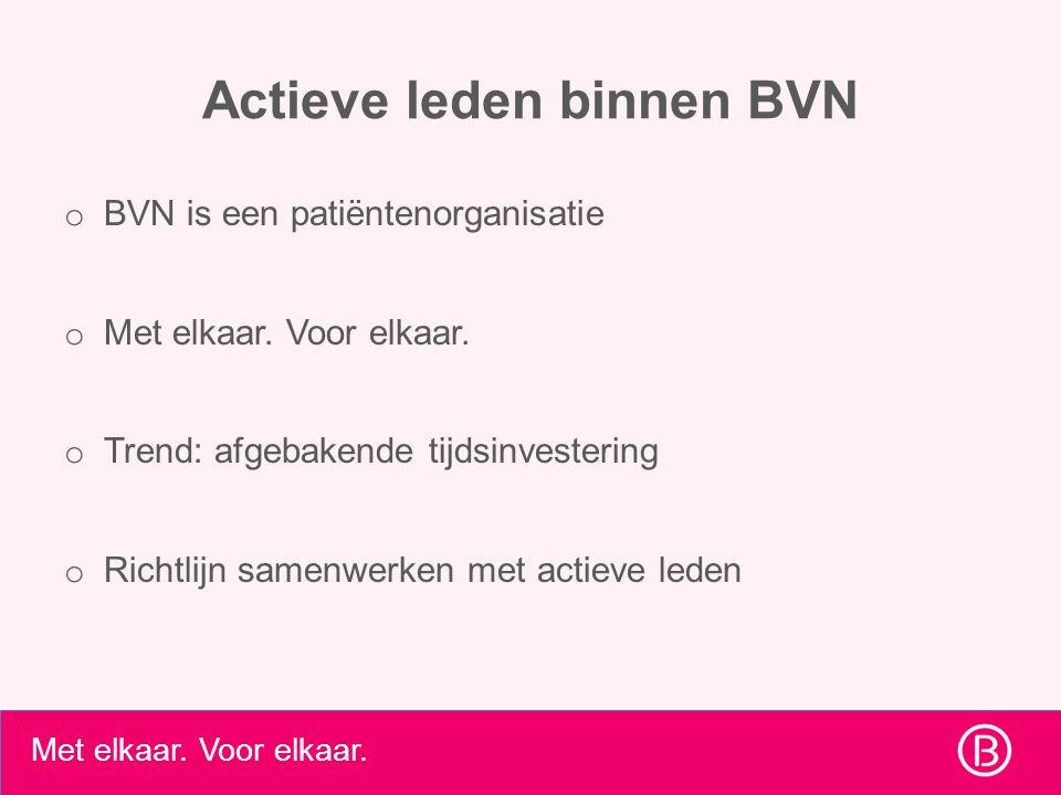 Met elkaar. Voor elkaar. Actieve leden binnen BVN o BVN is een patiëntenorganisatie o Met elkaar. Voor elkaar. o Trend: afgebakende tijdsinvestering o