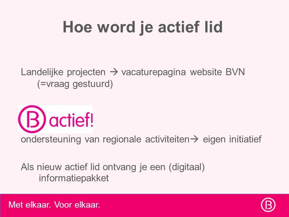 Met elkaar. Voor elkaar. Hoe word je actief lid Landelijke projecten  vacaturepagina website BVN (=vraag gestuurd) ondersteuning van regionale activi