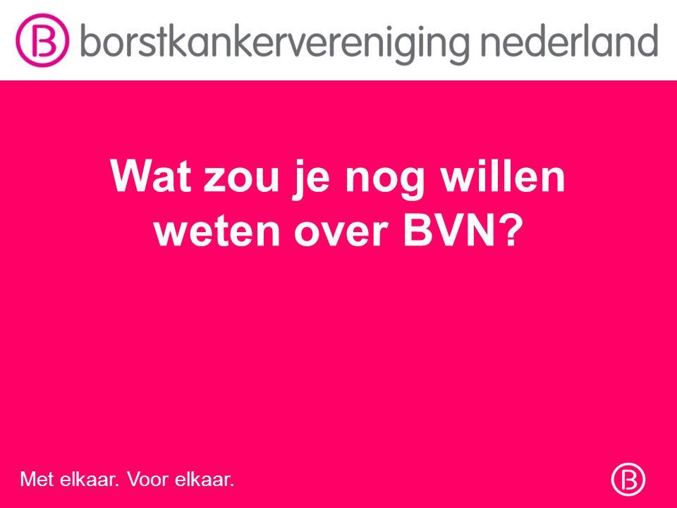 Met elkaar. Voor elkaar. Wat zou je nog willen weten over BVN?