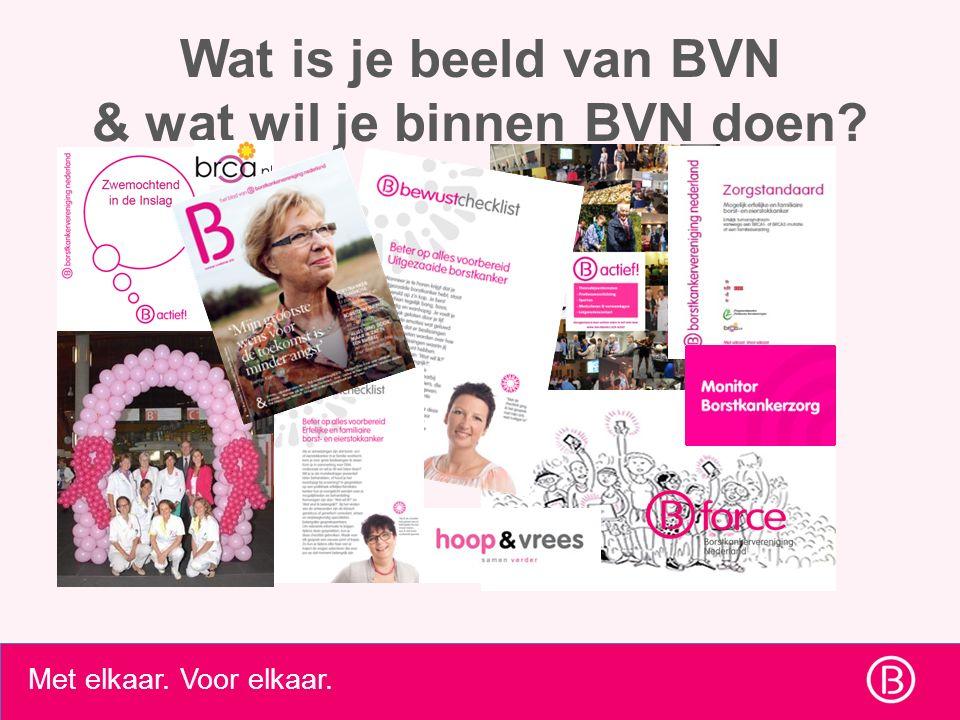 Met elkaar. Voor elkaar. Wat is je beeld van BVN & wat wil je binnen BVN doen?