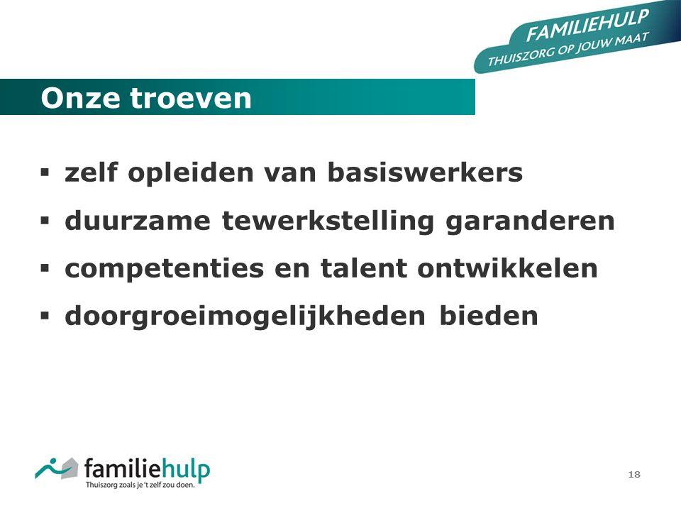18 Onze troeven  zelf opleiden van basiswerkers  duurzame tewerkstelling garanderen  competenties en talent ontwikkelen  doorgroeimogelijkheden bi
