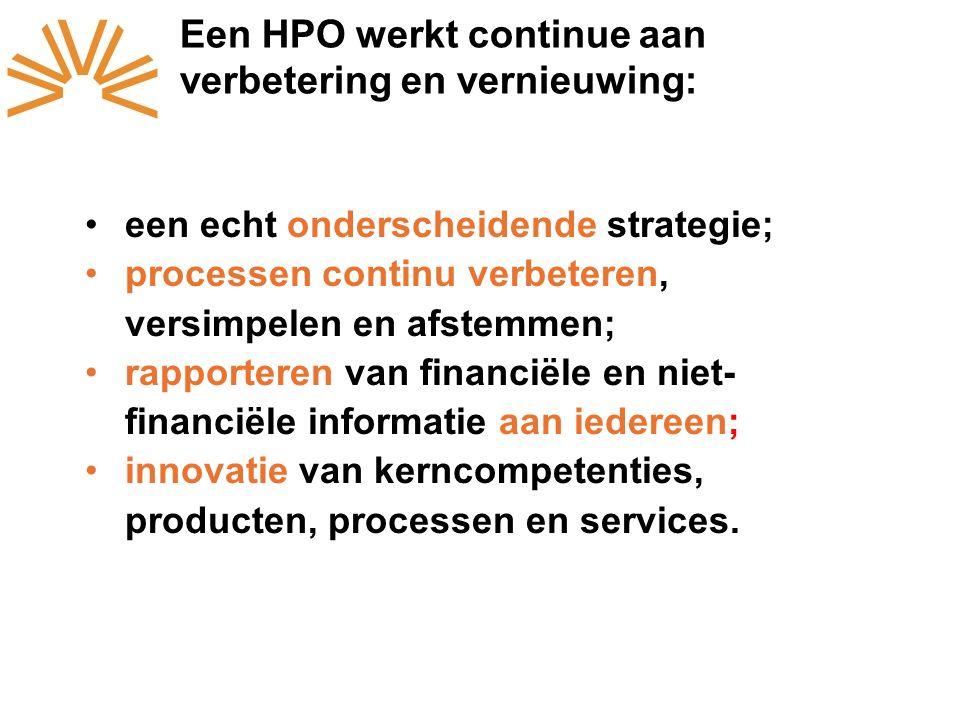 Een HPO werkt continue aan verbetering en vernieuwing: een echt onderscheidende strategie; processen continu verbeteren, versimpelen en afstemmen; rapporteren van financiële en niet- financiële informatie aan iedereen; innovatie van kerncompetenties, producten, processen en services.