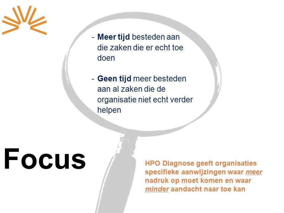 Focus -Meer tijd besteden aan die zaken die er echt toe doen -Geen tijd meer besteden aan al zaken die de organisatie niet echt verder helpen HPO Diagnose geeft organisaties specifieke aanwijzingen waar meer nadruk op moet komen en waar minder aandacht naar toe kan