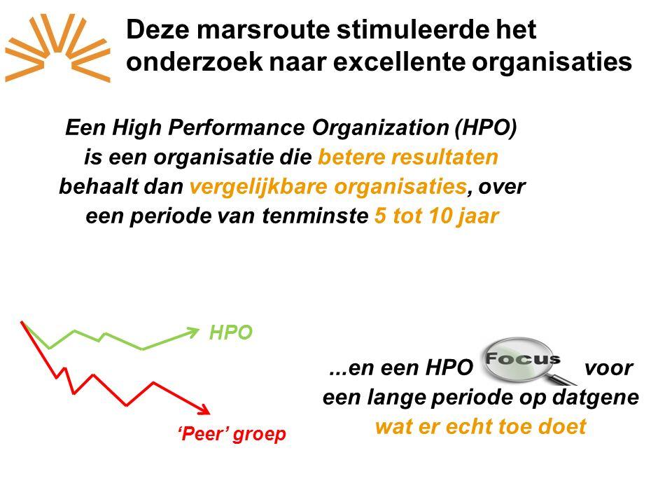 Een High Performance Organization (HPO) is een organisatie die betere resultaten behaalt dan vergelijkbare organisaties, over een periode van tenminste 5 tot 10 jaar...en een HPO focussen voor een lange periode op datgene wat er echt toe doet 'Peer' groep HPO Deze marsroute stimuleerde het onderzoek naar excellente organisaties