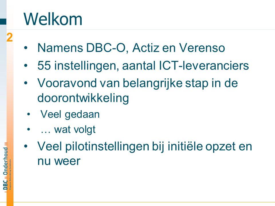 Welkom Namens DBC-O, Actiz en Verenso 55 instellingen, aantal ICT-leveranciers Vooravond van belangrijke stap in de doorontwikkeling Veel gedaan … wat volgt Veel pilotinstellingen bij initiële opzet en nu weer 2