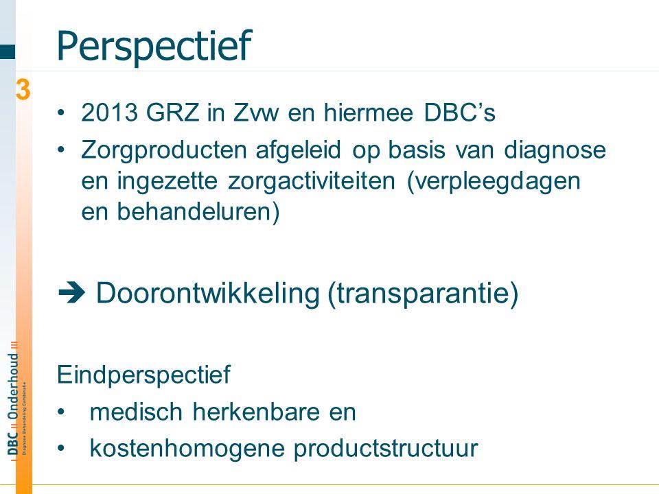 Perspectief 2013 GRZ in Zvw en hiermee DBC's Zorgproducten afgeleid op basis van diagnose en ingezette zorgactiviteiten (verpleegdagen en behandeluren)  Doorontwikkeling (transparantie) Eindperspectief medisch herkenbare en kostenhomogene productstructuur gerelateerd aan specifieke patiëntengroepen en de hieraan gekoppelde zorgpaden / behandelprogramma's.