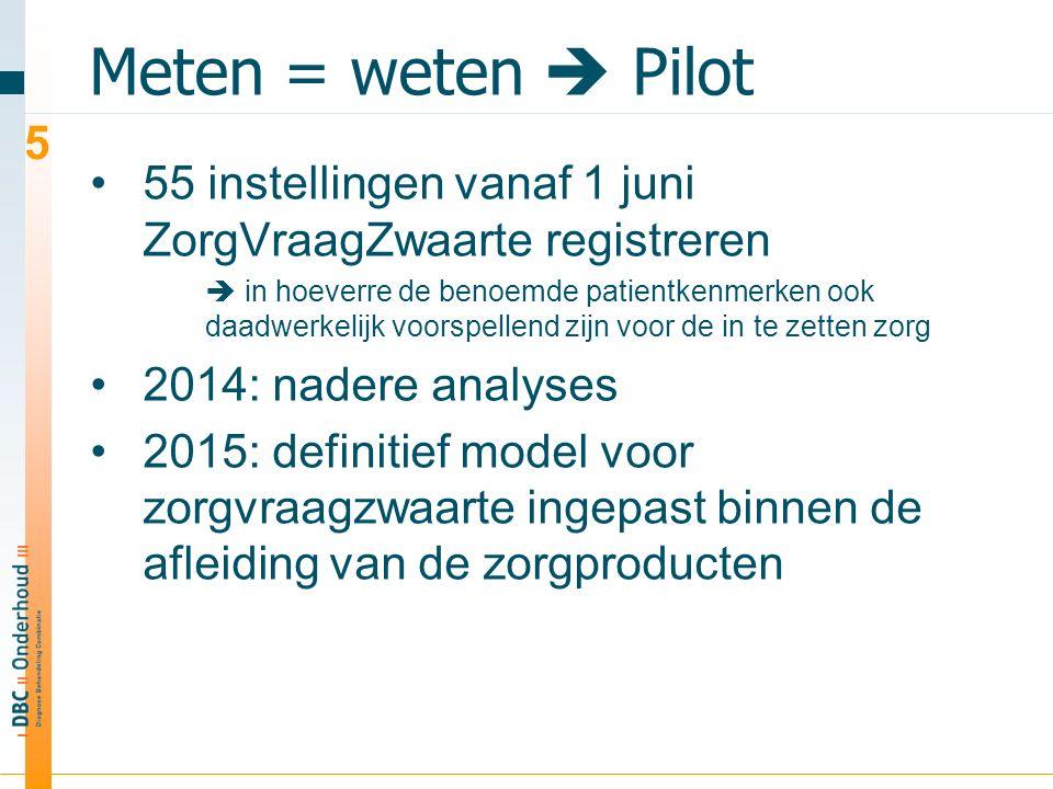 Meten = weten  Pilot 55 instellingen vanaf 1 juni ZorgVraagZwaarte registreren  in hoeverre de benoemde patientkenmerken ook daadwerkelijk voorspellend zijn voor de in te zetten zorg 2014: nadere analyses 2015: definitief model voor zorgvraagzwaarte ingepast binnen de afleiding van de zorgproducten 5