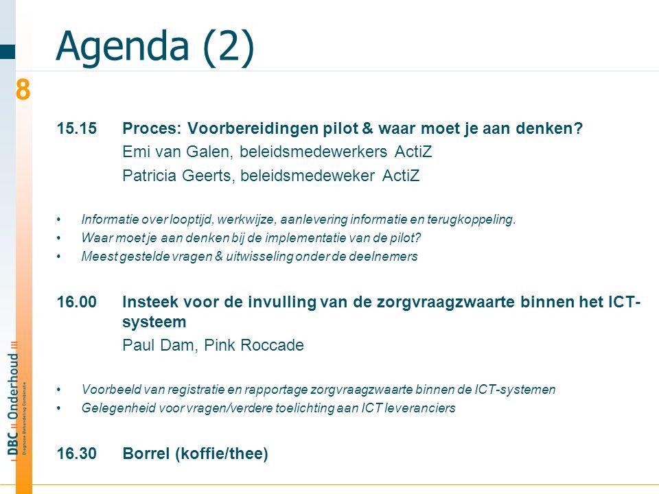 Agenda (2) 15.15Proces: Voorbereidingen pilot & waar moet je aan denken.