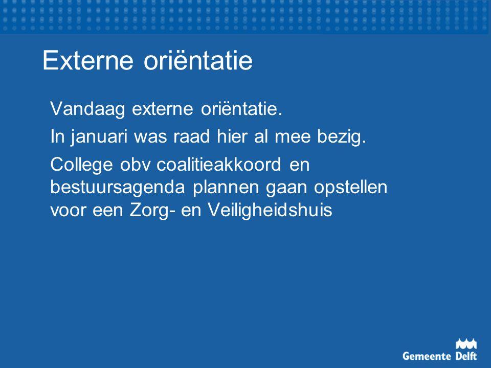 Externe oriëntatie Vandaag externe oriëntatie. In januari was raad hier al mee bezig.