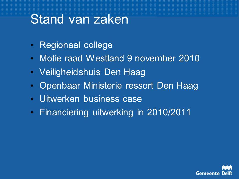 Stand van zaken Regionaal college Motie raad Westland 9 november 2010 Veiligheidshuis Den Haag Openbaar Ministerie ressort Den Haag Uitwerken business case Financiering uitwerking in 2010/2011