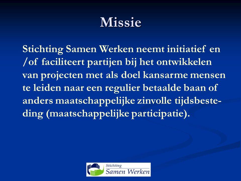 Missie Stichting Samen Werken neemt initiatief en /of faciliteert partijen bij het ontwikkelen van projecten met als doel kansarme mensen te leiden naar een regulier betaalde baan of anders maatschappelijke zinvolle tijdsbeste- ding (maatschappelijke participatie).