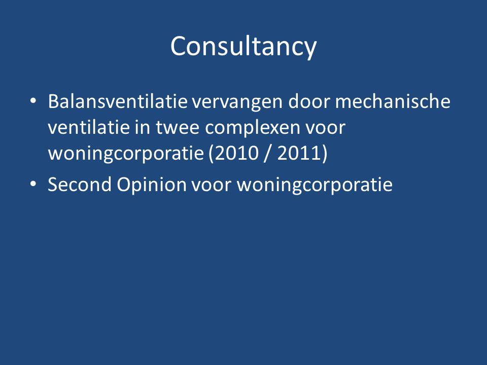 Consultancy Balansventilatie vervangen door mechanische ventilatie in twee complexen voor woningcorporatie (2010 / 2011) Second Opinion voor woningcorporatie
