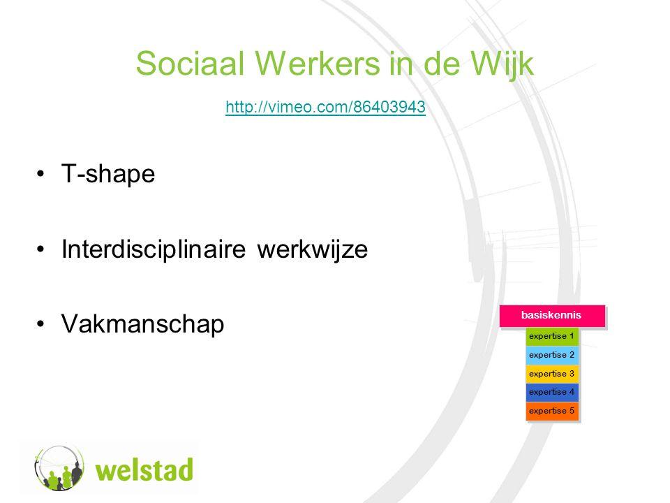 Sociaal Werkers in de Wijk T-shape Interdisciplinaire werkwijze Vakmanschap basiskennis expertise 1 expertise 2 expertise 3 expertise 4 expertise 5 http://vimeo.com/86403943