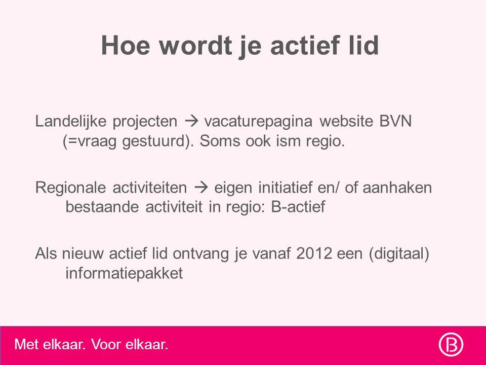 Hoe wordt je actief lid Landelijke projecten  vacaturepagina website BVN (=vraag gestuurd).