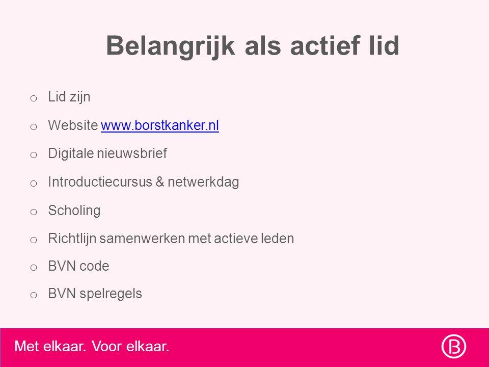 Belangrijk als actief lid o Lid zijn o Website www.borstkanker.nlwww.borstkanker.nl o Digitale nieuwsbrief o Introductiecursus & netwerkdag o Scholing o Richtlijn samenwerken met actieve leden o BVN code o BVN spelregels