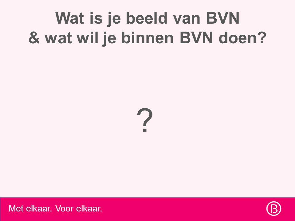 Met elkaar. Voor elkaar. Wat is je beeld van BVN & wat wil je binnen BVN doen