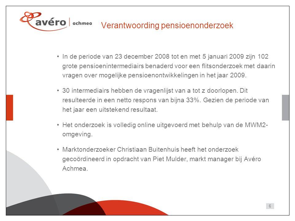 6 Verantwoording pensioenonderzoek In de periode van 23 december 2008 tot en met 5 januari 2009 zijn 102 grote pensioenintermediairs benaderd voor een flitsonderzoek met daarin vragen over mogelijke pensioenontwikkelingen in het jaar 2009.