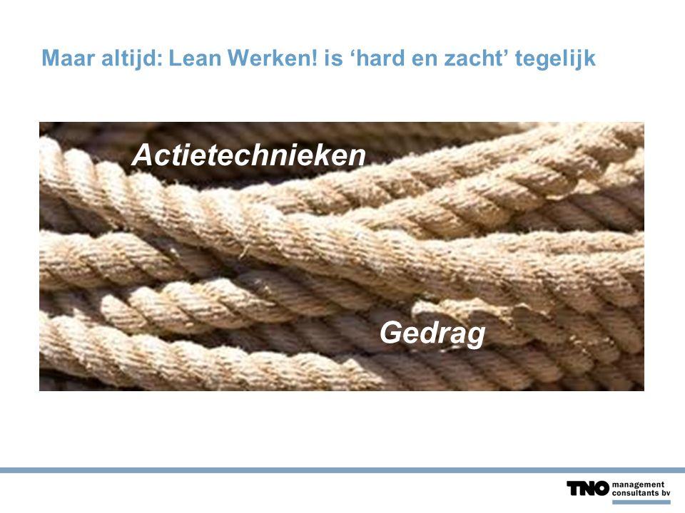 Maar altijd: Lean Werken! is 'hard en zacht' tegelijk Actietechnieken Gedrag