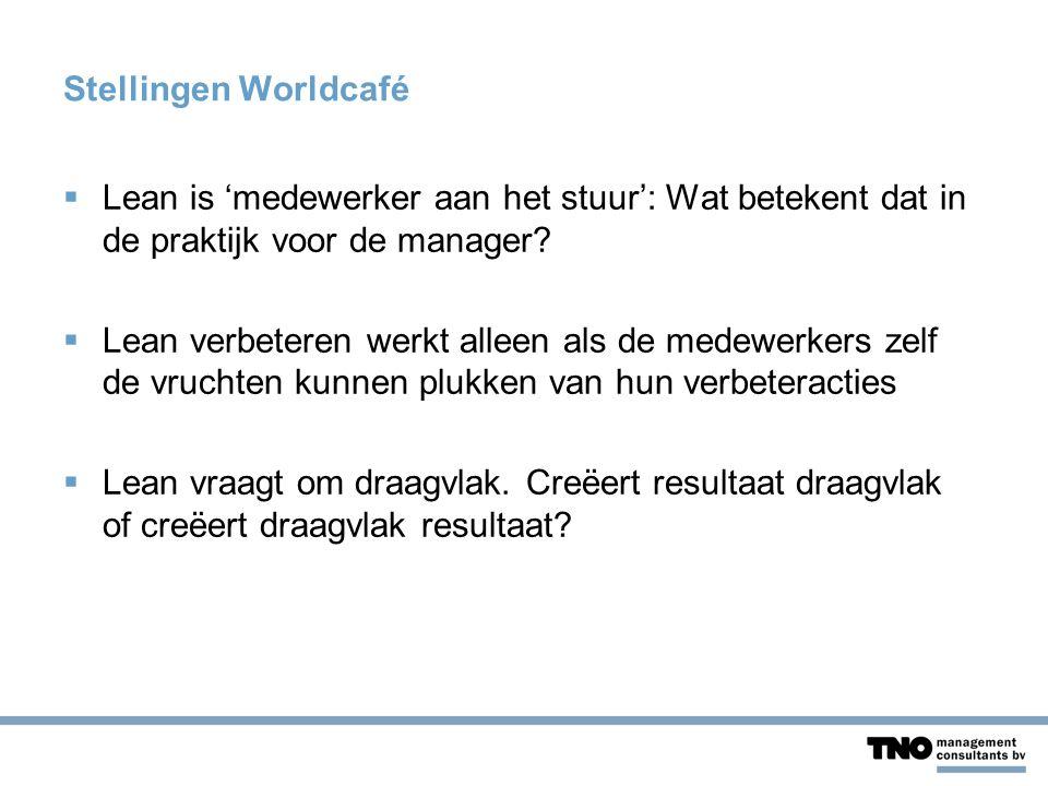 Stellingen Worldcafé  Lean is 'medewerker aan het stuur': Wat betekent dat in de praktijk voor de manager?  Lean verbeteren werkt alleen als de mede