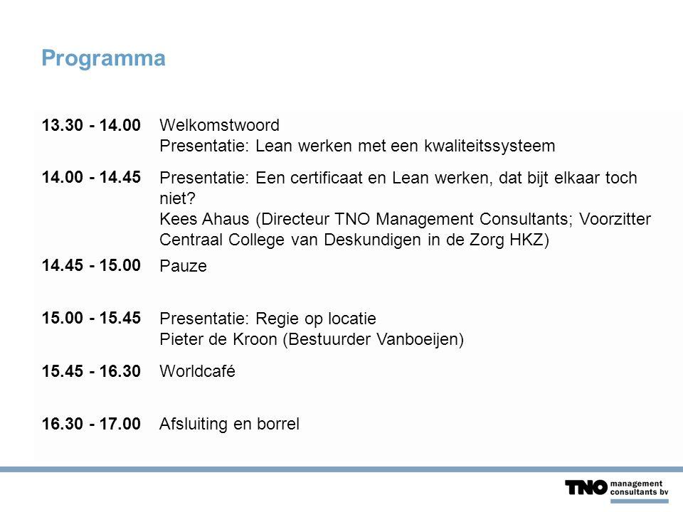 Programma 13.30 - 14.00Welkomstwoord Presentatie: Lean werken met een kwaliteitssysteem 14.00 - 14.45Presentatie: Een certificaat en Lean werken, dat bijt elkaar toch niet.