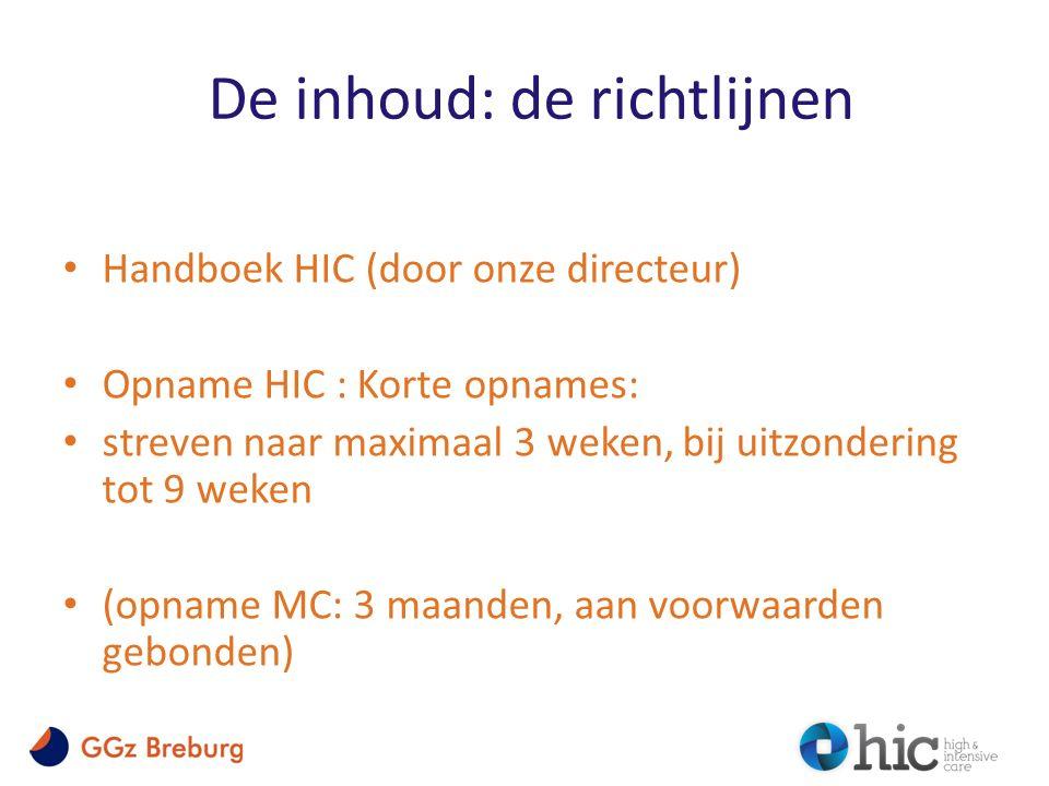 De inhoud: de richtlijnen Handboek HIC (door onze directeur) Opname HIC : Korte opnames: streven naar maximaal 3 weken, bij uitzondering tot 9 weken (opname MC: 3 maanden, aan voorwaarden gebonden)