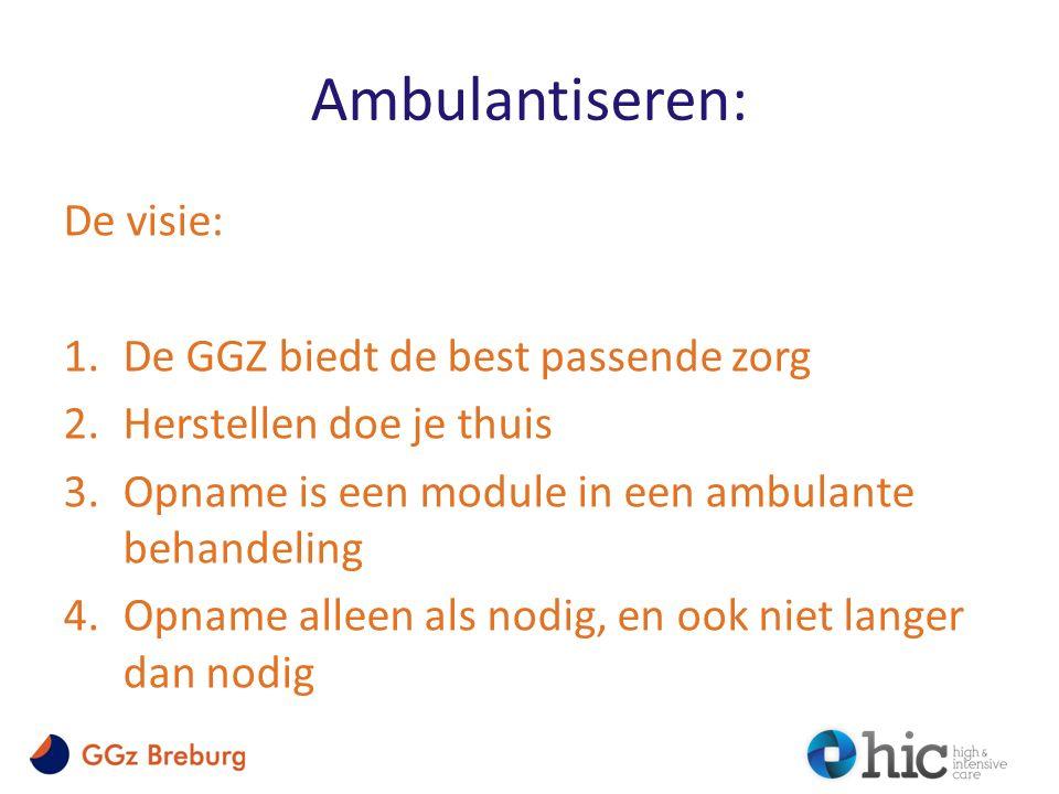Ambulantiseren: De visie: 1.De GGZ biedt de best passende zorg 2.Herstellen doe je thuis 3.Opname is een module in een ambulante behandeling 4.Opname alleen als nodig, en ook niet langer dan nodig