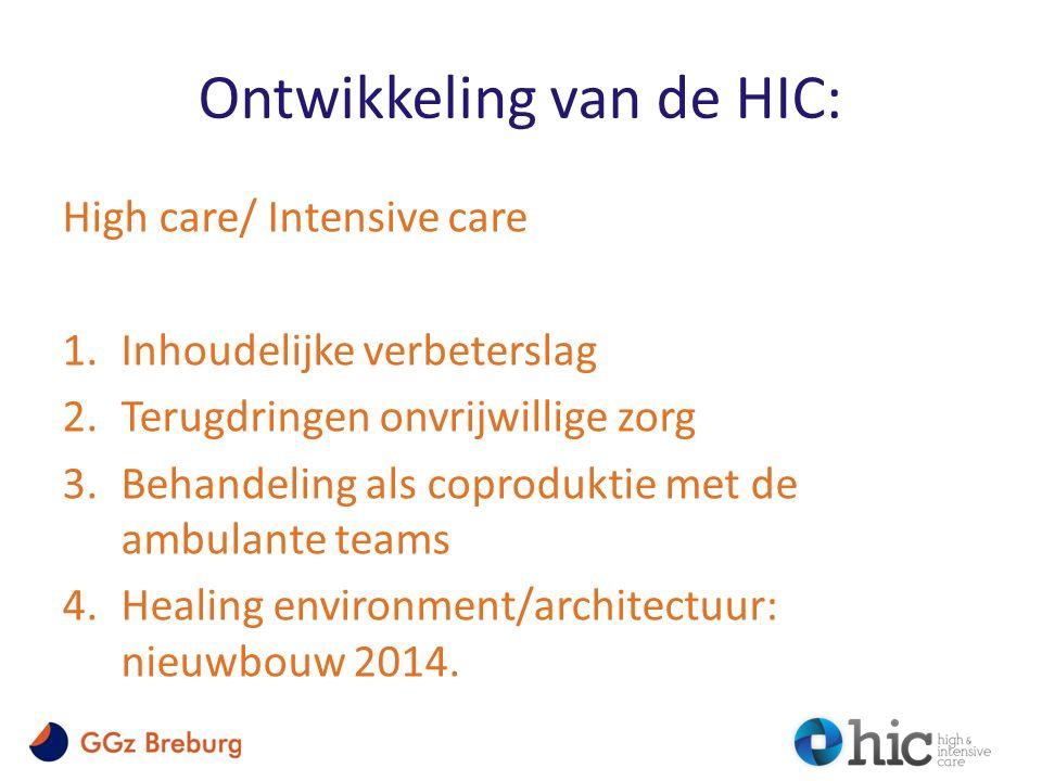 Ontwikkeling van de HIC: High care/ Intensive care 1.Inhoudelijke verbeterslag 2.Terugdringen onvrijwillige zorg 3.Behandeling als coproduktie met de ambulante teams 4.Healing environment/architectuur: nieuwbouw 2014.