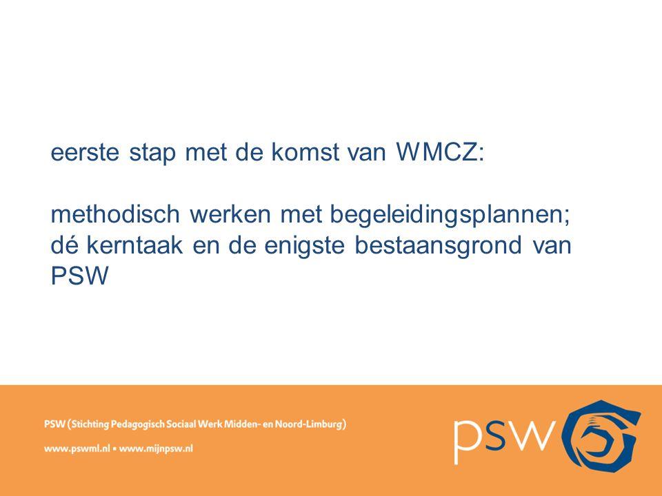 eerste stap met de komst van WMCZ: methodisch werken met begeleidingsplannen; dé kerntaak en de enigste bestaansgrond van PSW