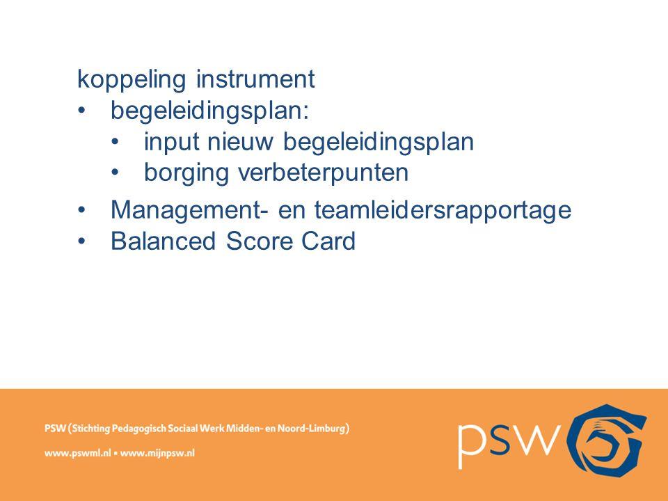 koppeling instrument begeleidingsplan: input nieuw begeleidingsplan borging verbeterpunten Management- en teamleidersrapportage Balanced Score Card