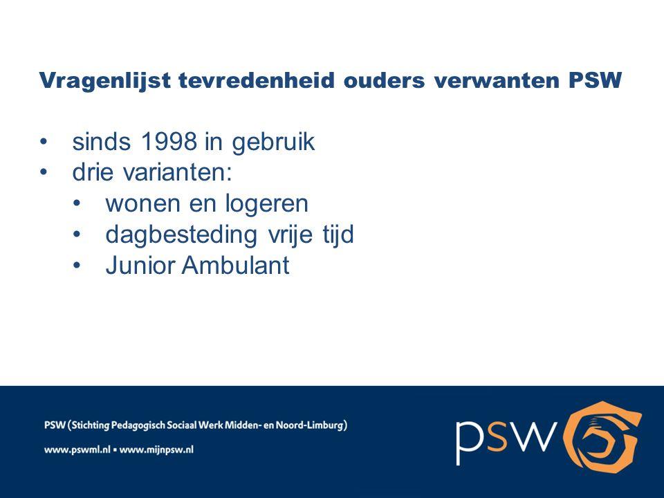Vragenlijst tevredenheid ouders verwanten PSW sinds 1998 in gebruik drie varianten: wonen en logeren dagbesteding vrije tijd Junior Ambulant