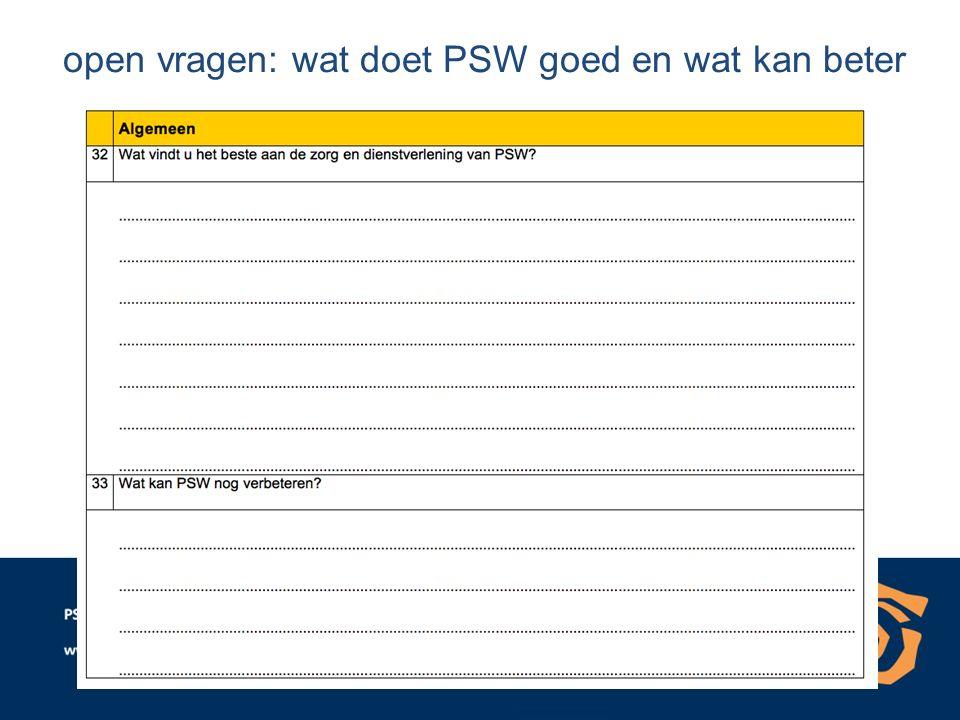 open vragen: wat doet PSW goed en wat kan beter