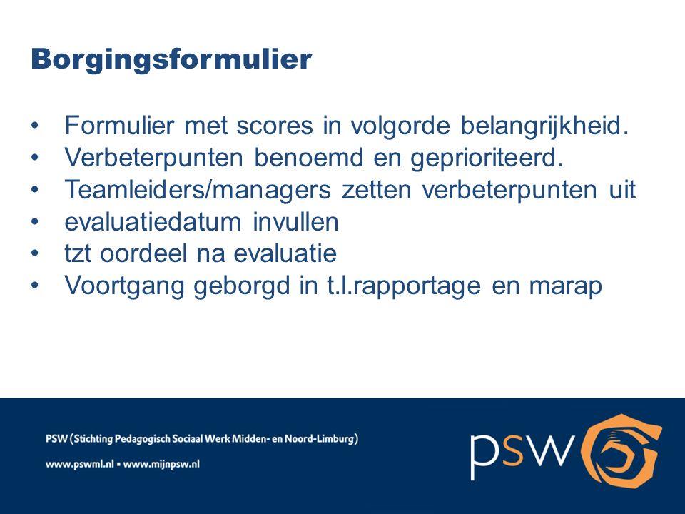Borgingsformulier Formulier met scores in volgorde belangrijkheid. Verbeterpunten benoemd en geprioriteerd. Teamleiders/managers zetten verbeterpunten