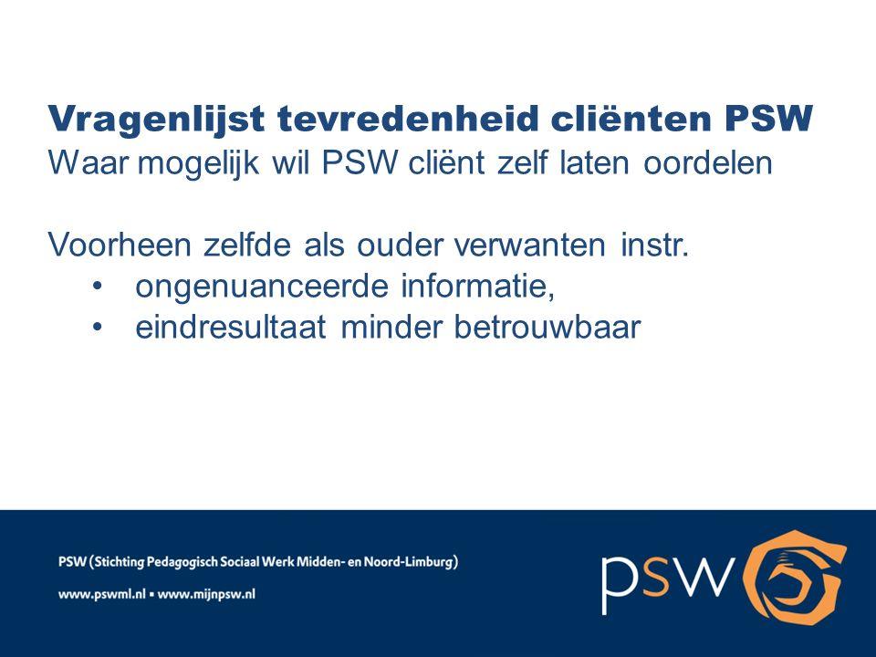 Vragenlijst tevredenheid cliënten PSW Waar mogelijk wil PSW cliënt zelf laten oordelen Voorheen zelfde als ouder verwanten instr. ongenuanceerde infor