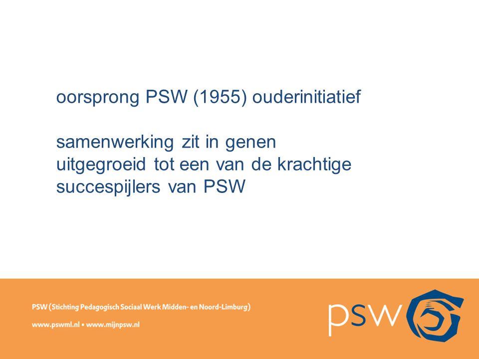 oorsprong PSW (1955) ouderinitiatief samenwerking zit in genen uitgegroeid tot een van de krachtige succespijlers van PSW