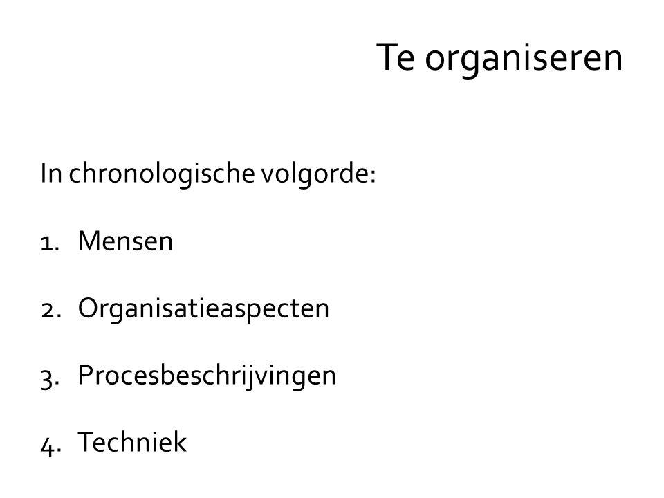 In chronologische volgorde: 1.Mensen 2.Organisatieaspecten 3.Procesbeschrijvingen 4.Techniek Te organiseren