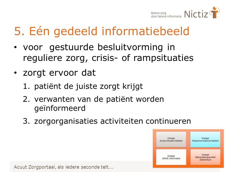 5. Eén gedeeld informatiebeeld Acuut Zorgportaal, als iedere seconde telt... voor gestuurde besluitvorming in reguliere zorg, crisis- of rampsituaties