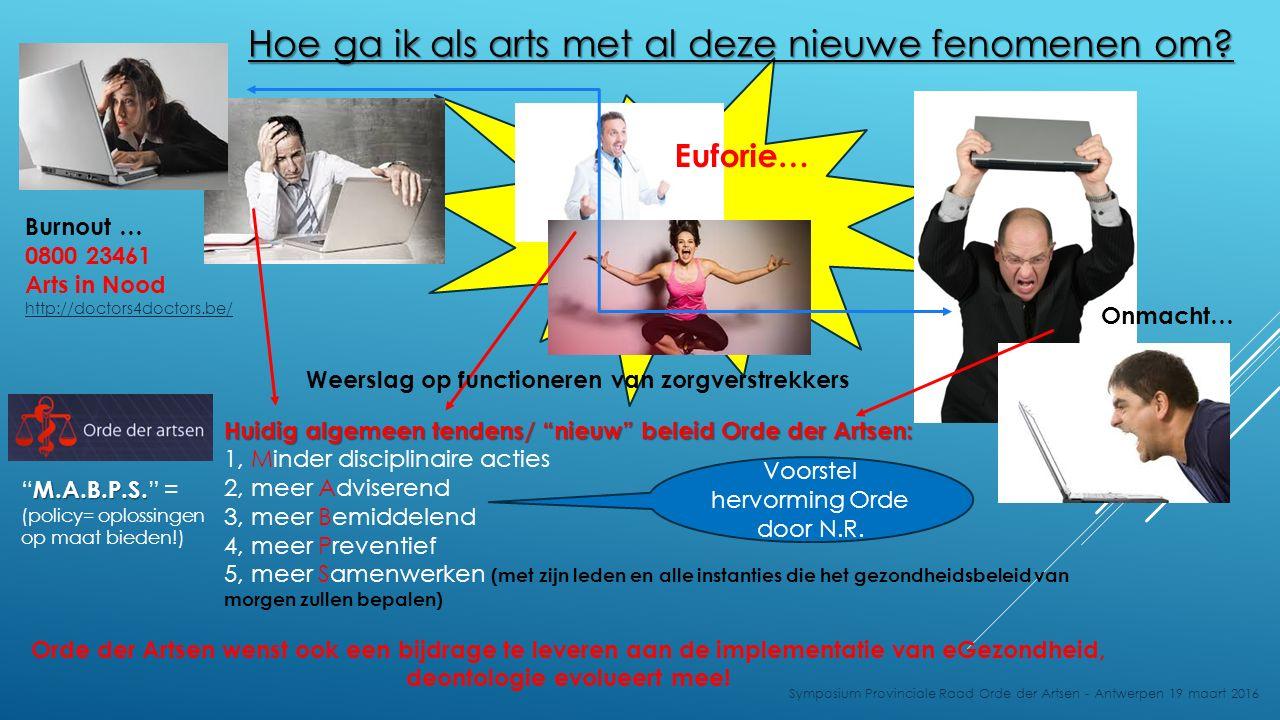 Hoe ga ik als arts met al deze nieuwe fenomenen om? Burnout … 0800 23461 Arts in Nood http://doctors4doctors.be/ Onmacht… Orde der Artsen wenst ook ee