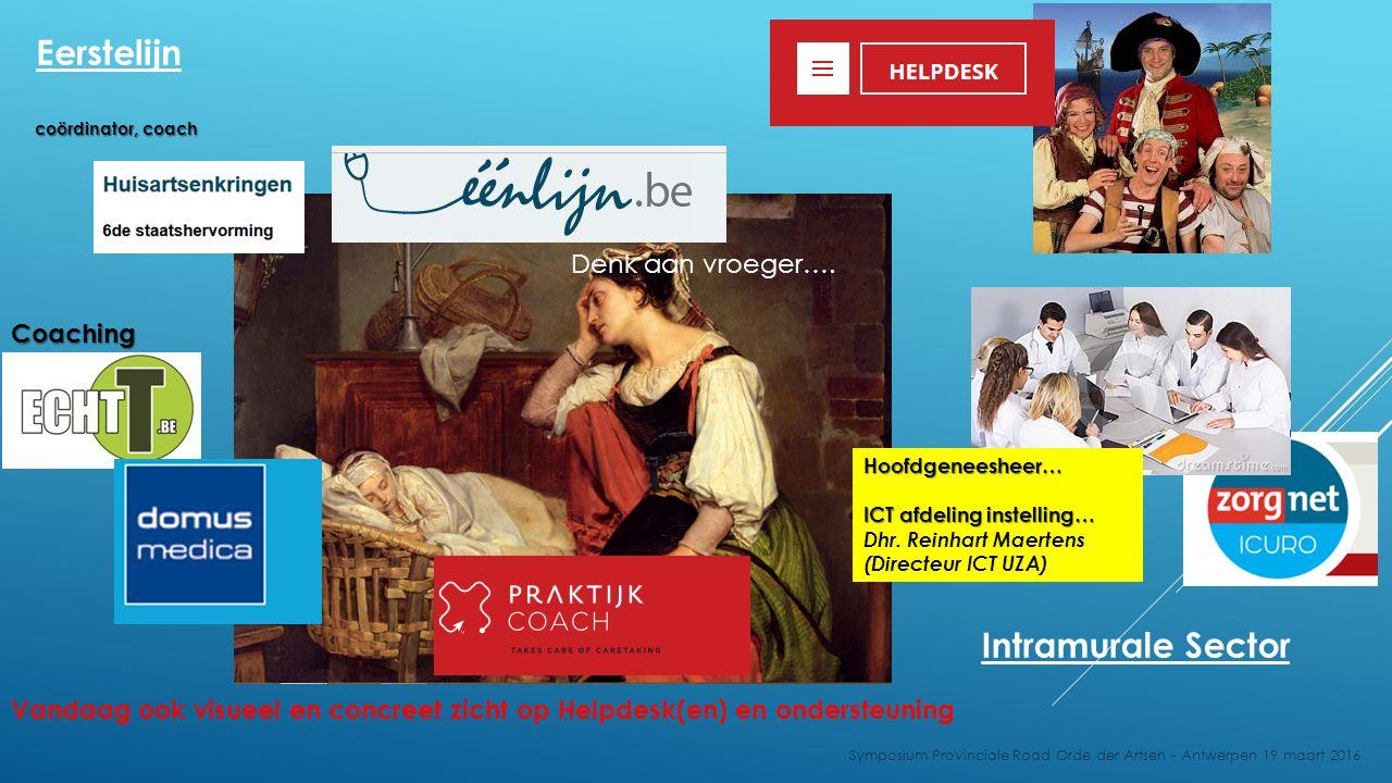 Denk aan vroeger…. Vandaag ook visueel en concreet zicht op Helpdesk(en) en ondersteuning Symposium Provinciale Raad Orde der Artsen - Antwerpen 19 ma