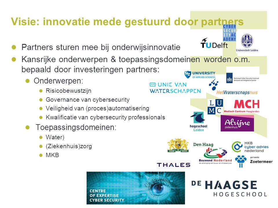 Visie: innovatie mede gestuurd door partners Partners sturen mee bij onderwijsinnovatie Kansrijke onderwerpen & toepassingsdomeinen worden o.m.