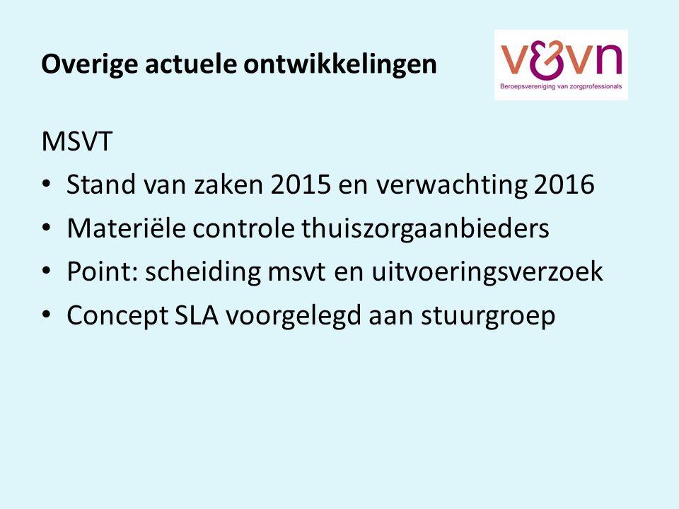 Overige actuele ontwikkelingen MSVT Stand van zaken 2015 en verwachting 2016 Materiële controle thuiszorgaanbieders Point: scheiding msvt en uitvoeringsverzoek Concept SLA voorgelegd aan stuurgroep
