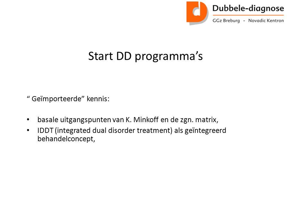 """Start DD programma's """" Geïmporteerde"""" kennis: basale uitgangspunten van K. Minkoff en de zgn. matrix, IDDT (integrated dual disorder treatment) als ge"""