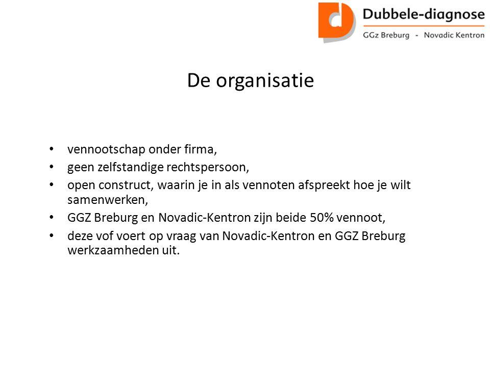 De organisatie vennootschap onder firma, geen zelfstandige rechtspersoon, open construct, waarin je in als vennoten afspreekt hoe je wilt samenwerken, GGZ Breburg en Novadic-Kentron zijn beide 50% vennoot, deze vof voert op vraag van Novadic-Kentron en GGZ Breburg werkzaamheden uit.