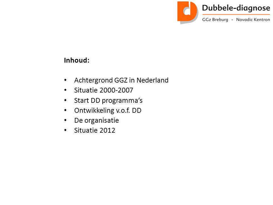 Inhoud: Achtergrond GGZ in Nederland Situatie 2000-2007 Start DD programma's Ontwikkeling v.o.f. DD De organisatie Situatie 2012
