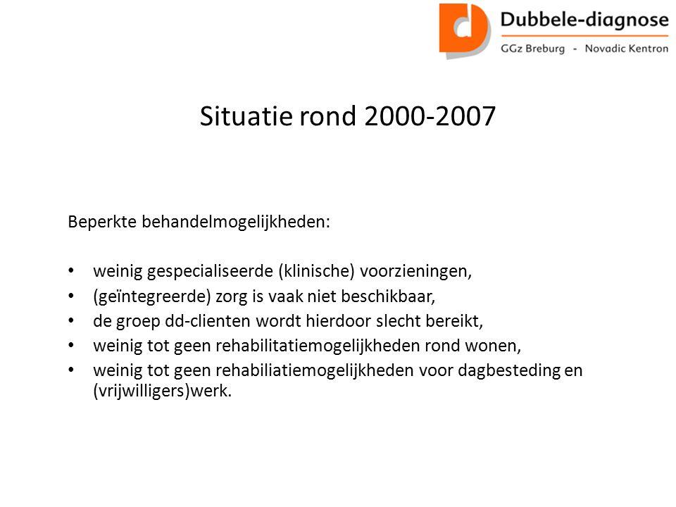 Situatie rond 2000-2007 Beperkte behandelmogelijkheden: weinig gespecialiseerde (klinische) voorzieningen, (geïntegreerde) zorg is vaak niet beschikba
