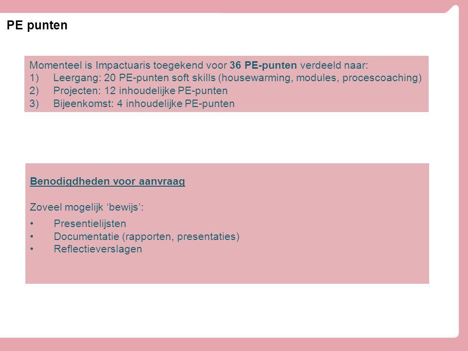 PE punten Momenteel is Impactuaris toegekend voor 36 PE-punten verdeeld naar: 1)Leergang: 20 PE-punten soft skills (housewarming, modules, procescoach