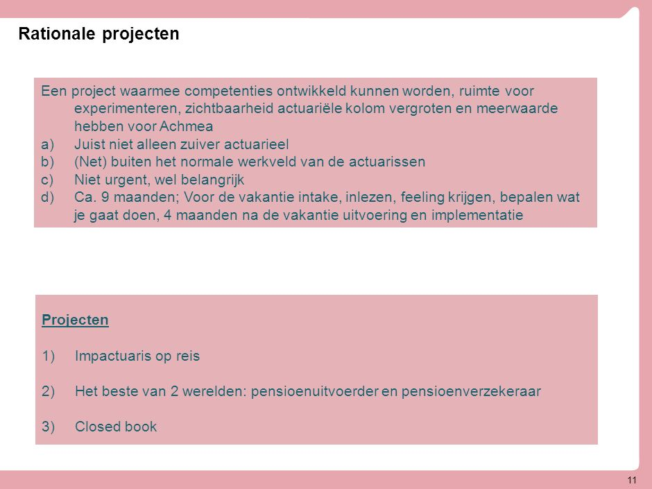 11 Rationale projecten Een project waarmee competenties ontwikkeld kunnen worden, ruimte voor experimenteren, zichtbaarheid actuariële kolom vergroten