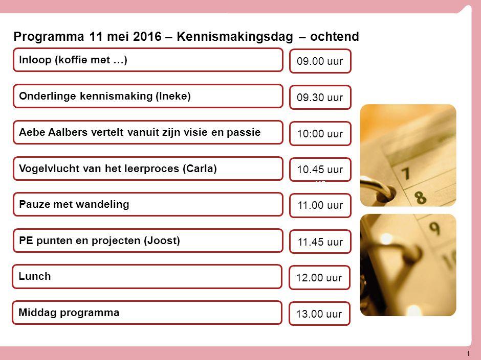 Programma 11 mei 2016 – Kennismakingsdag – ochtend Aebe Aalbers vertelt vanuit zijn visie en passie Vogelvlucht van het leerproces (Carla)2 Onderlinge kennismaking (Ineke) 10:00 uur 10.45 uur ur 09.30 uur Pauze met wandeling 11.00 uur PE punten en projecten (Joost) 11.45 uur 1 Inloop (koffie met …) 09.00 uur Lunch 12.00 uur Middag programma 13.00 uur