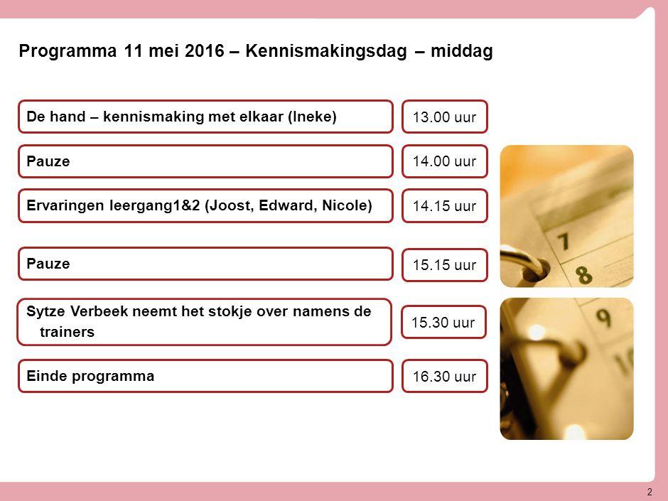 Programma 11 mei 2016 – Kennismakingsdag – middag Ervaringen leergang1&2 (Joost, Edward, Nicole) Pauze 14.15 uur 14.00 uur Einde programma 16.30 uur P