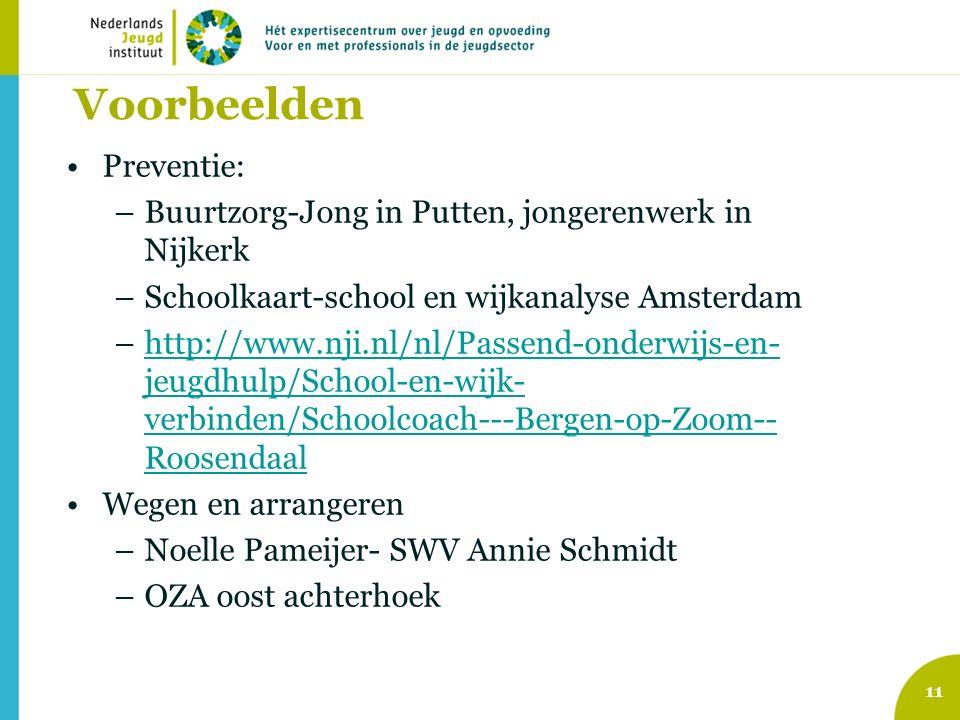 Voorbeelden Preventie: –Buurtzorg-Jong in Putten, jongerenwerk in Nijkerk –Schoolkaart-school en wijkanalyse Amsterdam –http://www.nji.nl/nl/Passend-onderwijs-en- jeugdhulp/School-en-wijk- verbinden/Schoolcoach---Bergen-op-Zoom-- Roosendaalhttp://www.nji.nl/nl/Passend-onderwijs-en- jeugdhulp/School-en-wijk- verbinden/Schoolcoach---Bergen-op-Zoom-- Roosendaal Wegen en arrangeren –Noelle Pameijer- SWV Annie Schmidt –OZA oost achterhoek 11