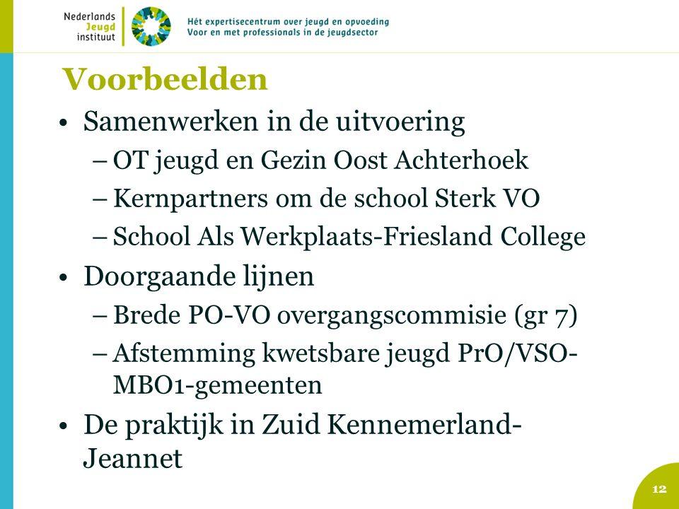 Voorbeelden Samenwerken in de uitvoering –OT jeugd en Gezin Oost Achterhoek –Kernpartners om de school Sterk VO –School Als Werkplaats-Friesland College Doorgaande lijnen –Brede PO-VO overgangscommisie (gr 7) –Afstemming kwetsbare jeugd PrO/VSO- MBO1-gemeenten De praktijk in Zuid Kennemerland- Jeannet 12